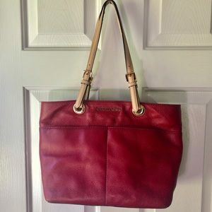Michael Kors Red Leather Tote Bag